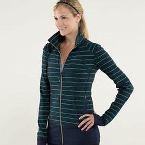 Lululemon Asana Zip Jacket Navy Green Striped